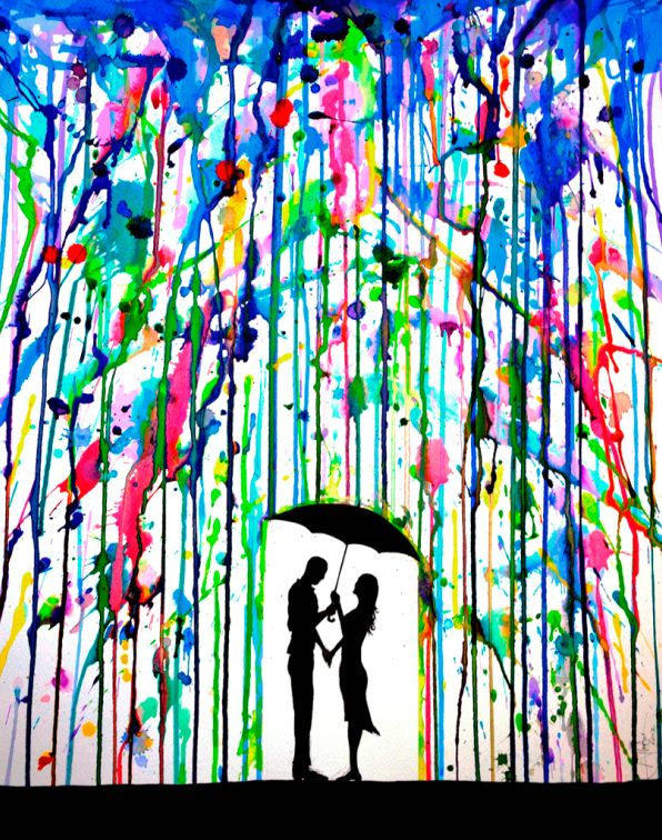 Colorful Dripping Wet Ink Drawings Made with colored inks. The girl, umbrella and ground are stencils. Cover the stencilled area with tape (low tack) and then splatter inks or watered down paints onto the canvas and allow the paints to dribble down the canvas as if colored rain. This would make a wonderful gift for someone who likes art. Also can do this with melting crayons craft