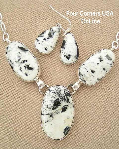 Four Corners USA Online - Large White Buffalo Turquoise Necklace Earring Set by Navajo Artisan Tony Garcia NAN-1407, $595.00 (http://stores.fourcornersusaonline.com/large-white-buffalo-turquoise-necklace-earring-set-by-navajo-artisan-tony-garcia-nan-1407/)