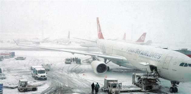 Pentru zilele de 26 si 27 ianuarie au fost anuntate ca fiind anulate peste 338 de zboruri ale companiei aeriene Turkish