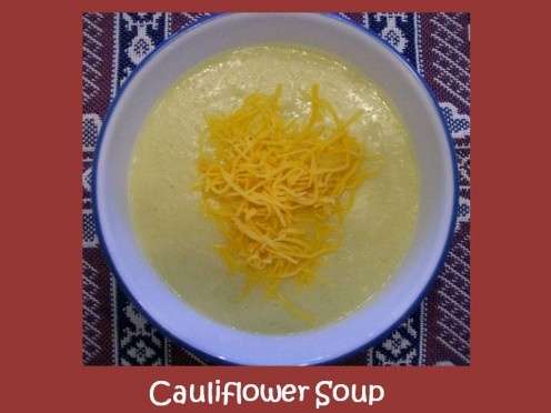 Cauliflower Soup topped with shredded cheddar cheese. Source: Sharyn's ...