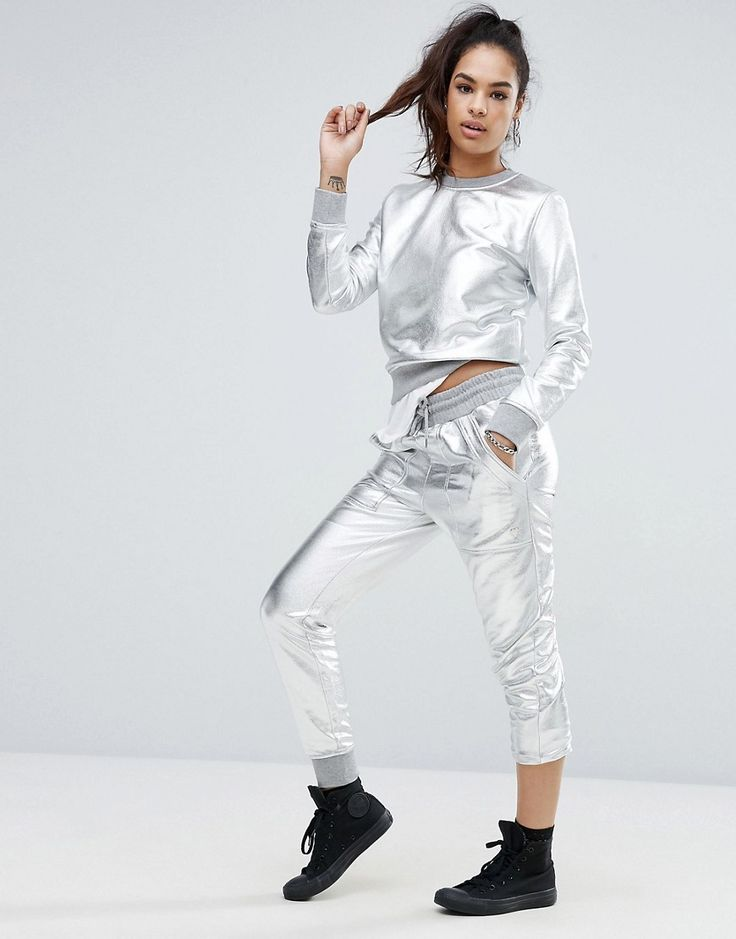 Buy it now. Love Moschino Astronaut Joggers - Silver. Sweatpants by Love Moschino, Smooth metallic sweat fabric, Drawstring waistband, Side pockets, Love Moschino heart logo, Fitted cuffs, Slim fit - cut close to the body, Machine wash, 55% Cotton, 35% Polyester, 10% Viscose, Our model wears a UK 8/EU 36/US 4 and is 175cm/5'9 tall. ABOUT LOVE MOSCHINO A diffusion line of Franco Moschino's iconic Italian design house, Love Moschino creates a playful and irreverent collection injected with a…