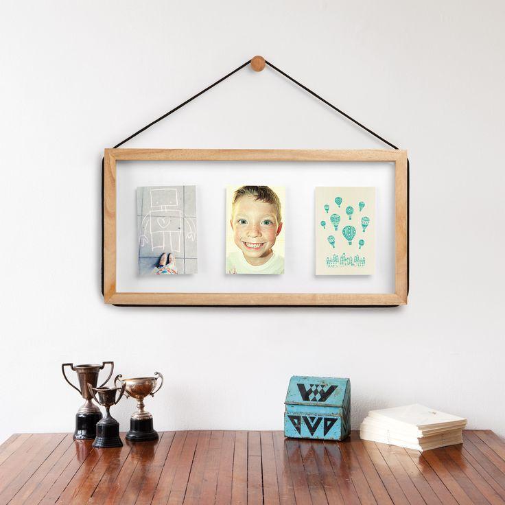Cadre photo mural 3 vues en bois avec corde ajustable for Idee deco cadre photo