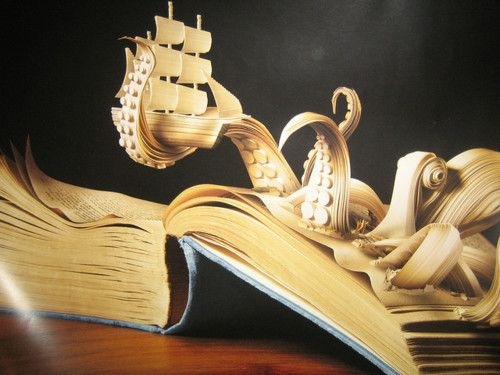 : Books Sculpture, Books Carvings, Books Art, Sailing Ships, Paper Art, Paper Sculpture, Sea Monsters, Good Books, Books Projects