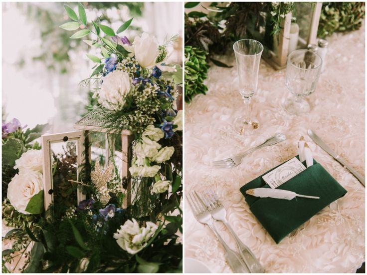Peter Pan in Neverland wedding theme. Tinkerbell lantern centerpiece with pixie dust feather favors. Photography by Shelly Anderson Photography