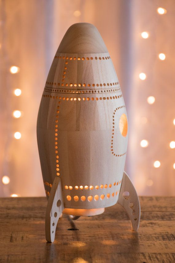 Wooden Rocket Ship Night Light Wood Nursery / by LightingBySara