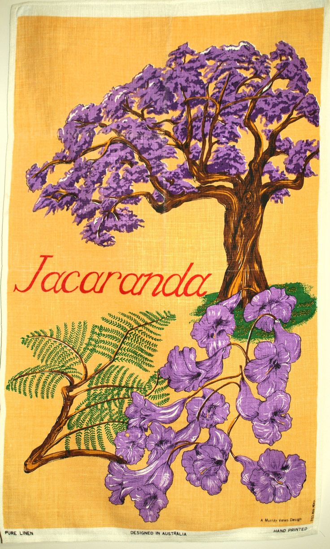 Jacaranda Tree Purple Flowers Tea Towel - Vintage Retro Pure Linen Australia Souvenir - Designed in Australia Hand Painted by FunkyKoala on Etsy