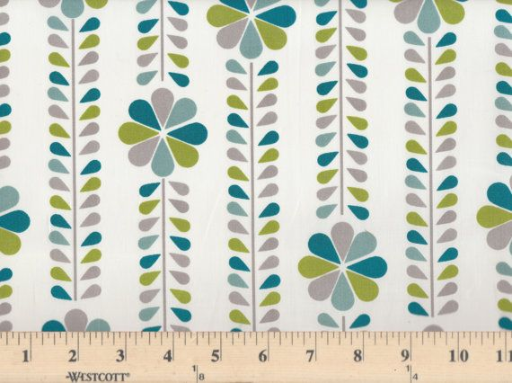 Mod Blue Floral Fabric by CuttingCloth on Etsy