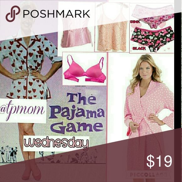PG Share group sign in..July 12 Sharing begins at 9 a.m. and the group closes at approximately 6 p.m. and these are all Eastern Standard Time. Please share 5 items in the Intimates category. Please sign out when finished and let's make some sales. Please tag me with any questions or comments on the Q&A page in this section. Please finish sharing by midnight in your own time zone. - Intimates & Sleepwear