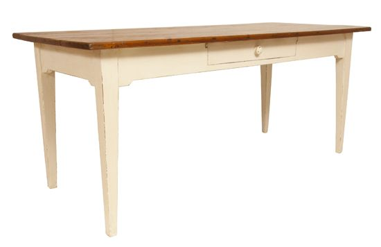 French Pine Farmhouse Table with Painted Base C1900