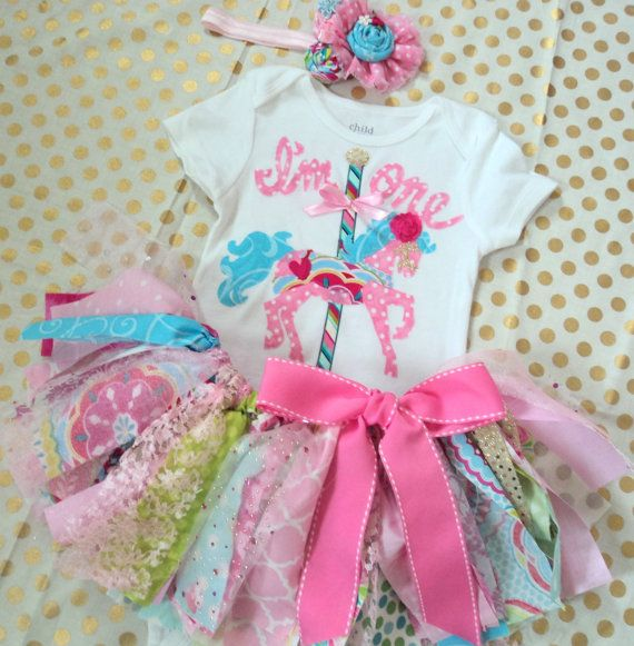 Baby girl 1st Birthday outfit Carousel Horse by RockabyeJoss