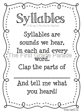 The Syllable Song (to Row Row Row Your Boat) - write out on sentence strips to put in pocket chart