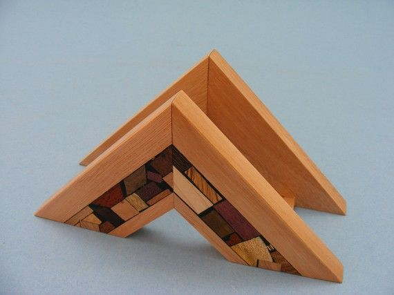 Wooden Napkin Holder with Wood Mosaics by EtzRon on Etsy, $70.00