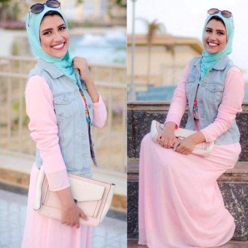 pink maxi dress pastel outfit- College Hijab Outfits by Egyptian Fashionista http://www.justtrendygirls.com/college-hijab-outfits-by-egyptian-fashionista/