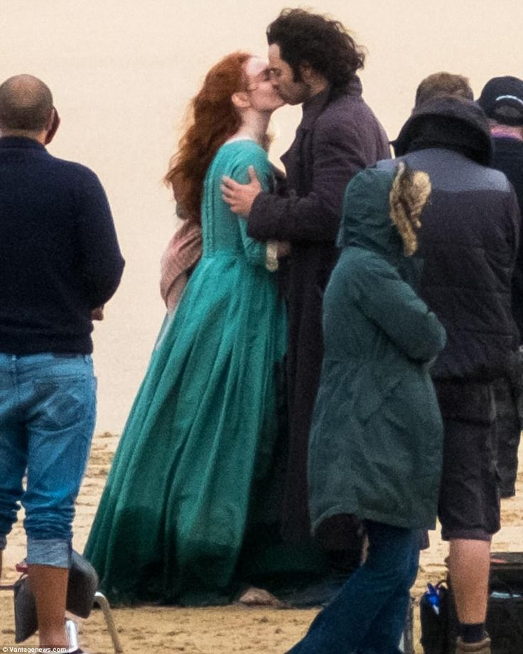 Smitten: It seems that Ross Poldark and Demelza may finally get their happy ever after as they were seen filming blissful scenes for the hit show's fourth series in Cornwall on Tuesday
