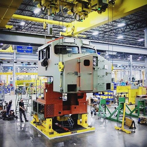 General Electric. A Tier 3 Evolution Series being built on the factory floor of our advanced locomotive manufacturing facility in Fort Worth, TX. Photo by @cntalbot.
