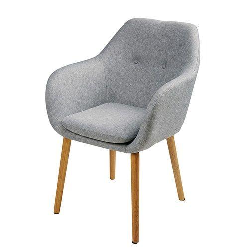 Sessel aus grauem Polypropylen und Eiche