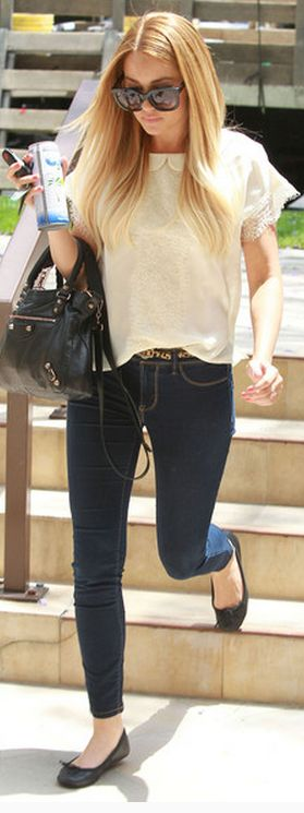 dressy top, basic jeans and ballet flats