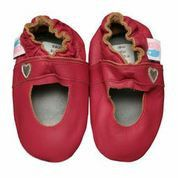 Soft-leather Mary Janes with a cute heart on the side. Good for indoor and outdoor play. Recommended to measure to determine exact size. Mary Jane (Bubblegum Pink) - Baby Shoe