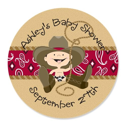 Little Cowboy - 24 Round Personalized Baby Shower Sticker Labels $5.99
