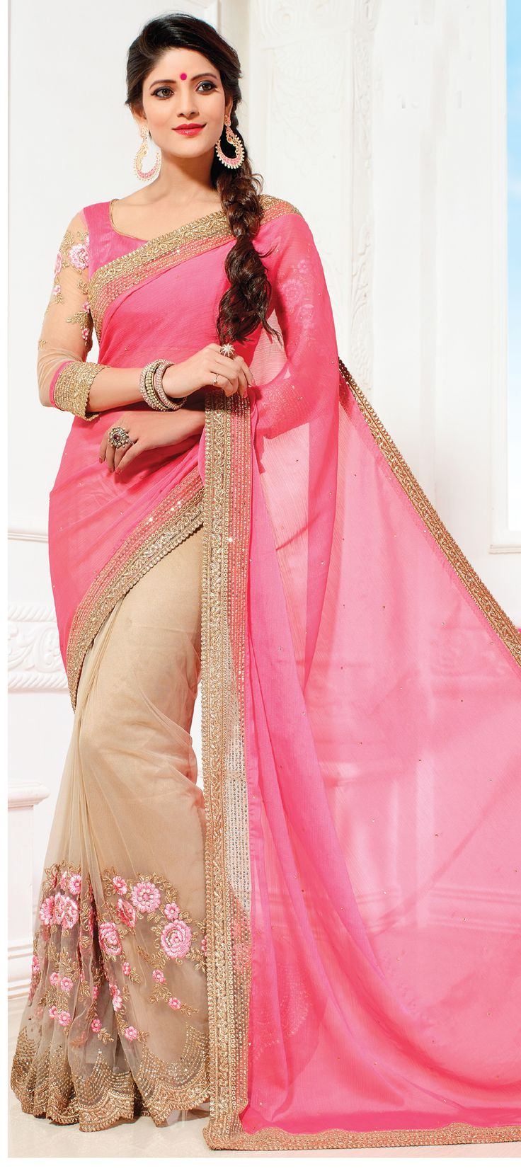 175687: Beige and Brown, Pink and Majenta color family Bridal Wedding Sarees, Party Wear Sarees with matching unstitched blouse.