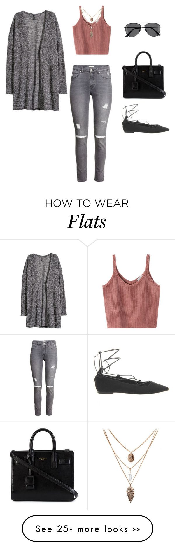 """""""Salmon & Gray"""" by leengardini on Polyvore featuring H&M, Office and Yves Saint Laurent"""