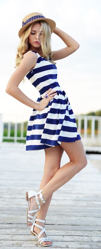 @roressclothes closet ideas #women fashion outfit #clothing style apparel  Blue Striped Dress