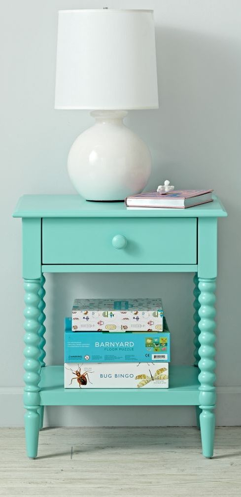 Shop Jenny Lind Azure Nightstand.  Jenny Lind, known as the Swedish Nightingale, was an opera singer who performed in the 1800s.  She was so popular in her day, furniture styles and household items were named in her honor.
