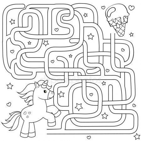 アイスクリームをユニコーン検索パスを助けます 迷宮 子供のための迷路ゲーム 黒と白のベクトル イラスト塗り絵 maze games for kids coloring books art classroom