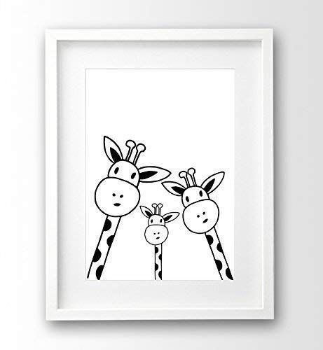 KinderzimmerPoster ungerahmt A4, Familie Giraffe Selfie