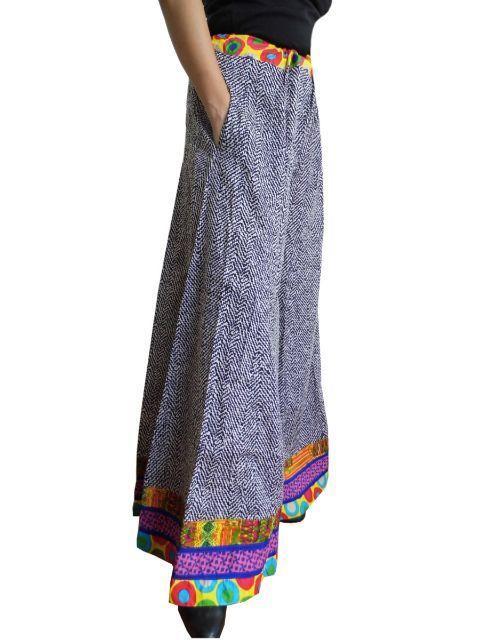Blockprint Jaipur Cotton Palazzo Pants- Pattern 3:These pretty palazzo pants on block printed jaipur cotton have a beautiful monochrome print and a vibrant