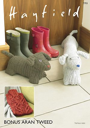 Hayfield 7793 Hot Water Bottle Cover, Doggy Door Stop, & Doggy Draught/Draft Excluder. Uses #4(Aran) Weight Yarn.