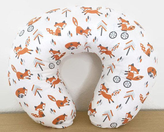 **SAME DAY SHIPPING**  This Boppy cover is white in color with little foxes throughout, along with a tribal woodland inspired design.  Perfect for