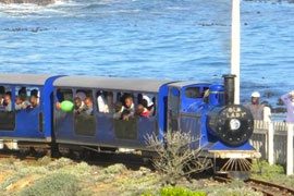 CAPE TOWN The Blue Train, Mouille Point Beachfront, Mouille Point, Cape Town. The train operates every day from 09h00 until sunset, weather permitting.  R10?