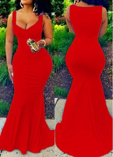 Red V Neck Sleeveless Maxi Dress on sale only US$22.83 now, buy cheap Red V Neck Sleeveless Maxi Dress at modlily.com