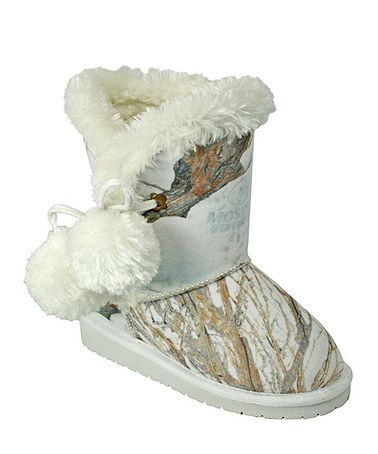 Love this White Winter Brush Mossy Oak Camo Pom-Pom Boot by DAWGS on #zulily! #zulilyfinds - couldn't resist - Caity-bug