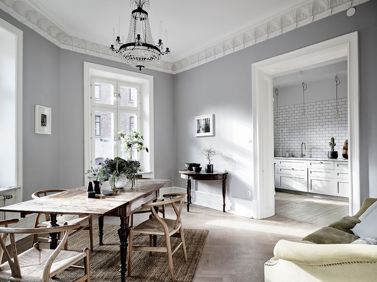 Grey dining space