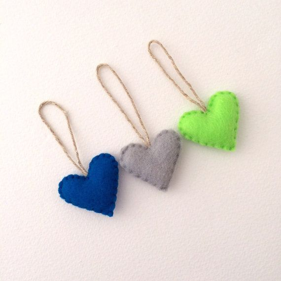 Seahawks Colors Heart Ornaments Set of 3 Recycled by ArtfulEnds