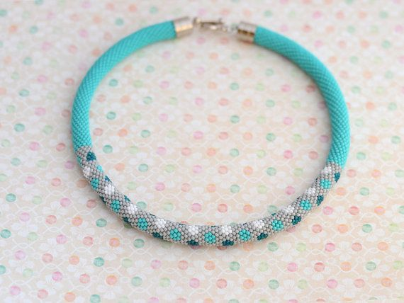 "Bead crochet necklace ""Confetti"" turquoise necklace gray necklace kawaii jewelry"