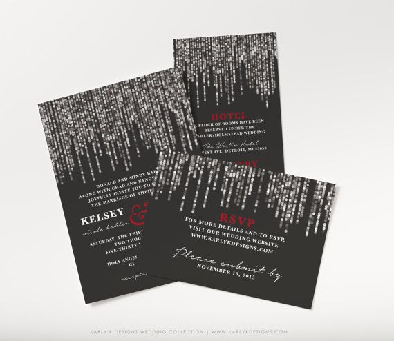 Printable Winter Wedding Invitation Black Red by KarlyKDesignShop