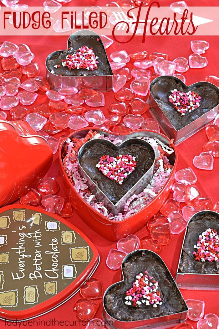 Fudge Filled Hearts | Make this super easy fudge!  Drop it into a heart shaped cookie cutter and place in a candy tin.