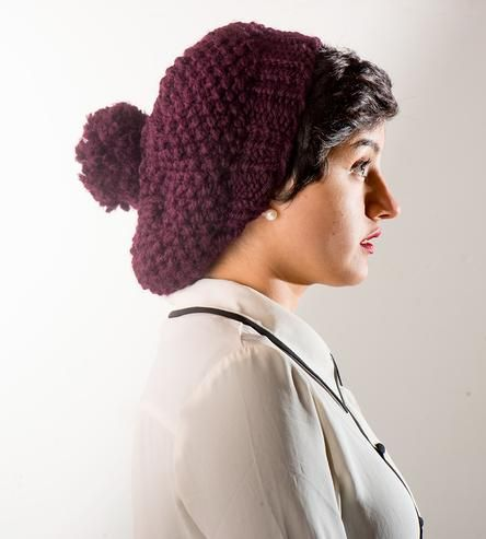 Plum Knit Slouch Beanie by knit by pearl on Scoutmob Shoppe