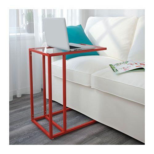 VITTSJÖ Laptopgestell, rot, Glas rot/Glas 35x65 cm