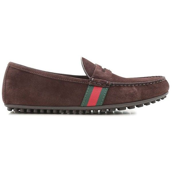 Gucci Mocassins & Boat Shoes (25330 DZD) ❤ liked on Polyvore featuring men's fashion, men's shoes, men's loafers, brown, mens boat shoes, mens brown boat shoes, mens brown loafer shoes, mens brown loafers and mens loafer shoes