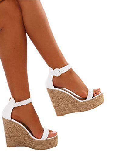 70b791d9468d7f Minetom Sandales Femme Mode Casual Cheville Sandale Talon Compensé Or High  Heels Été Sexy Sandals Espadrille Blanc EU 37