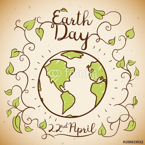 Earth Day Commemorative Design in Doodle Style