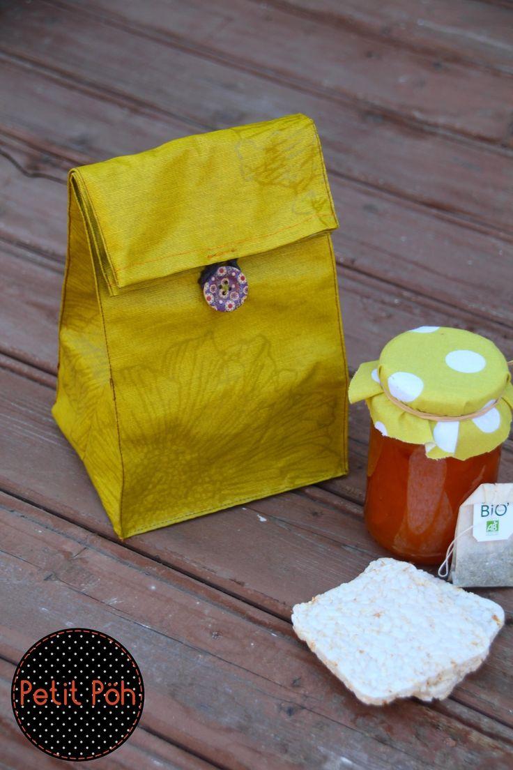 Lunch bag en coton enduit imperméable : Autres sacs par petit-poh