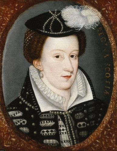 Mary Stuart, Queen of Scots. You can really see the resemblance to her cousin Queen Elizabeth in this portrait. Especially the eyes. And I really have no idea of what is going on with the pattern on her underdress.