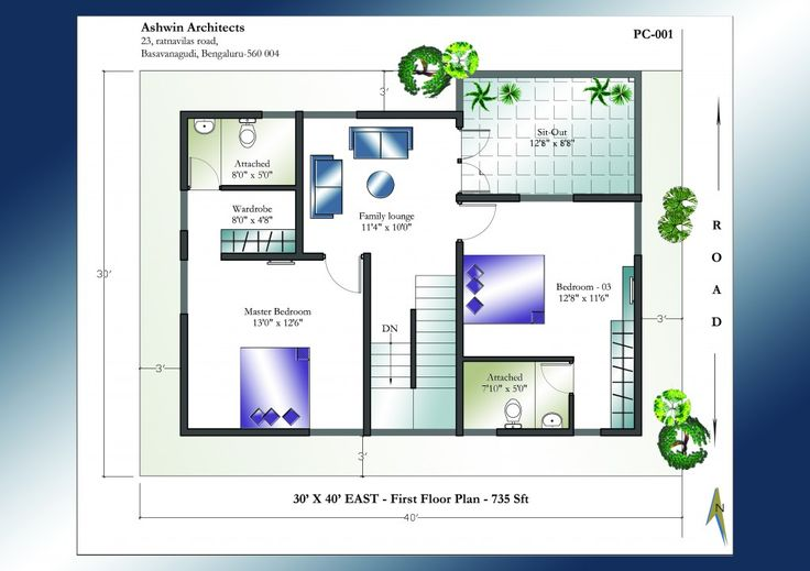 Home Plans 30 X 40 Site East Facing