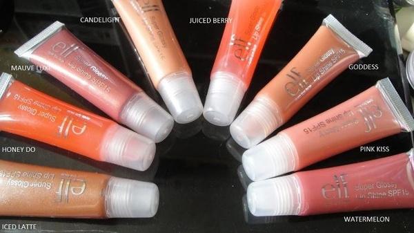 Lait glacé (#2804), Honey Do (#2809), Luxe mauve (#2802), Lueur de chandelle (#2808), Baie juteuse (#2810), Déesse (#2803), Baiser rose (#2806), Pastèque (#2807) http://www.eyeslipsface.fr/produit-beaute/gloss-super-brillant-spf-15