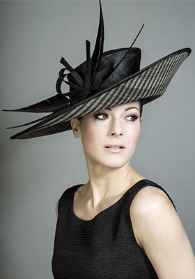 Rachel Trevor-Morgan - Black and stripe straw sidesweep with large arrow feathers